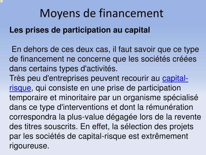 Moyens de financement