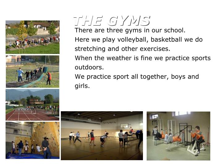 There are three gyms in our school.