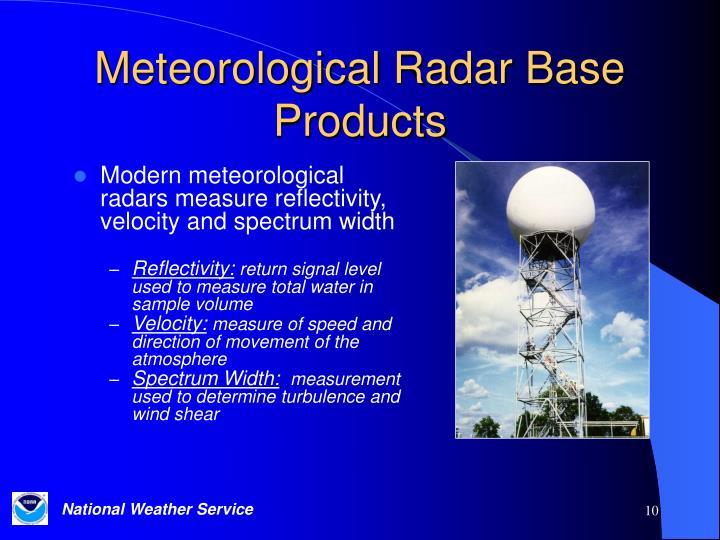 Meteorological Radar Base Products