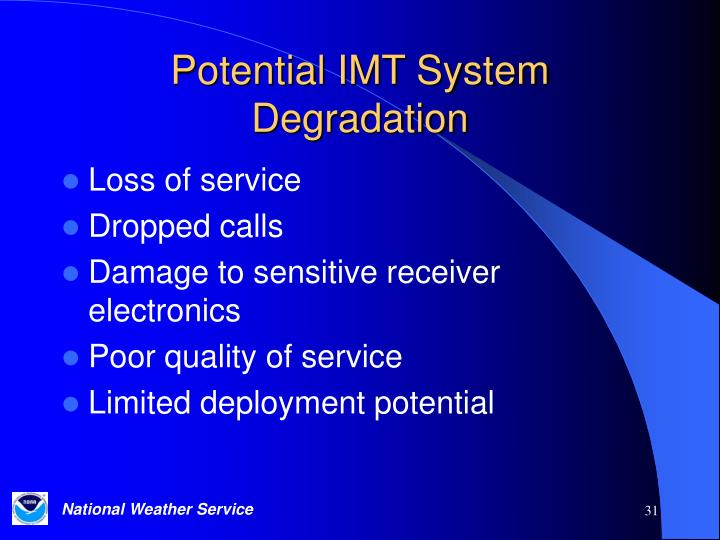 Potential IMT System Degradation
