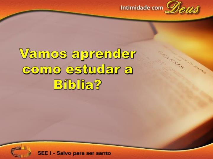 Vamos aprender como estudar a Bíblia?