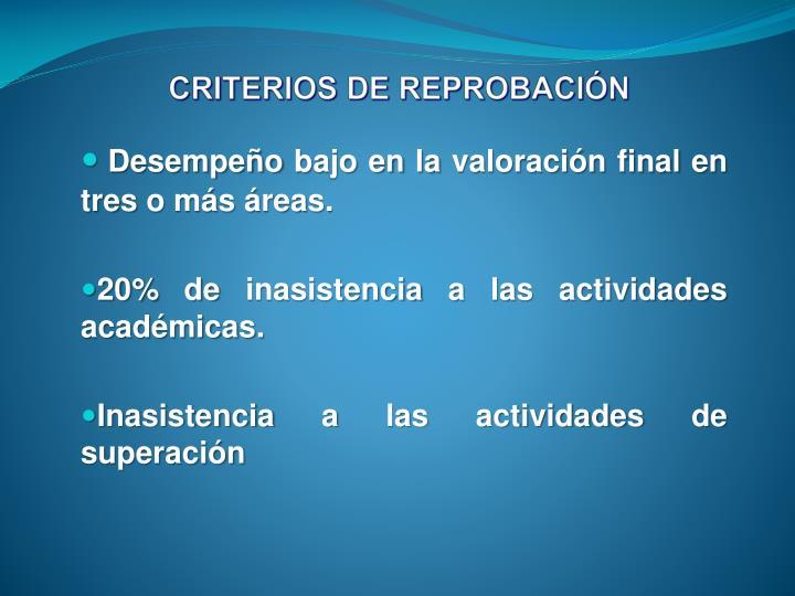 CRITERIOS DE REPROBACIÓN