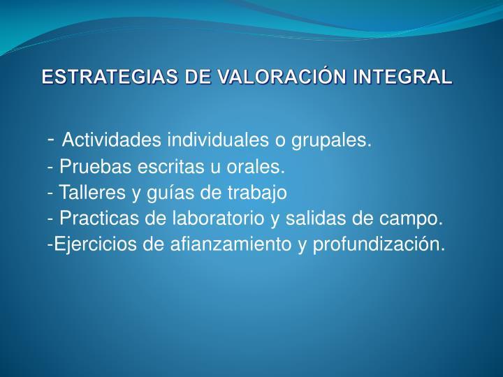 ESTRATEGIAS DE VALORACIÓN INTEGRAL
