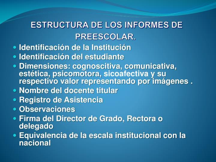 ESTRUCTURA DE LOS INFORMES DE PREESCOLAR.
