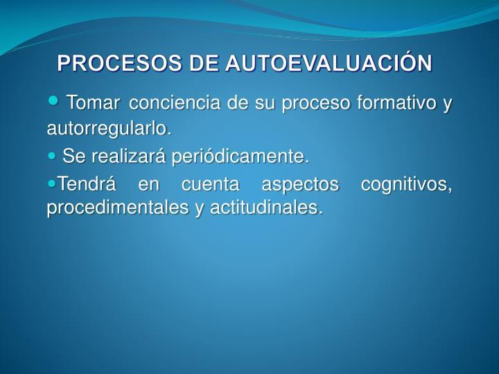 PROCESOS DE AUTOEVALUACIÓN