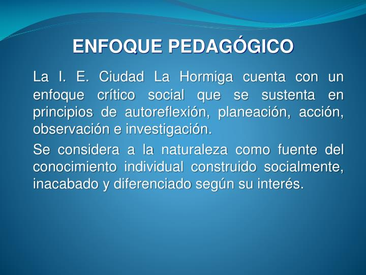 ENFOQUE PEDAGÓGICO