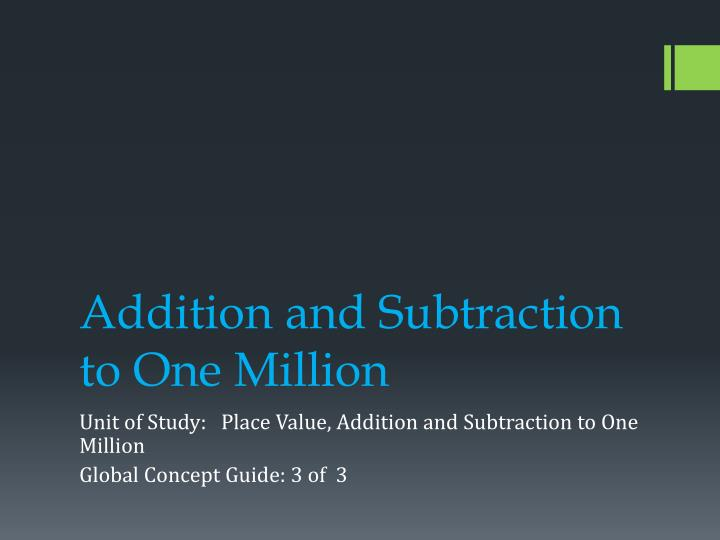 addition and subtraction to one million n.