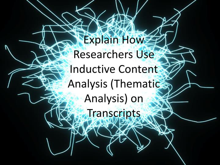 thematic analysis Muir-cochrane thematic analysis introduction in the interpretive study reported in this article we used a combined technique of inductive and deductive thematic analysis 2000) the first order is the process by which people make sense of or interpret the phenomena of the everyday world.