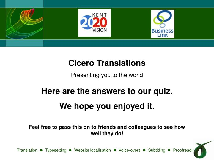 PPT - Cicero Translations Presenting you to the world
