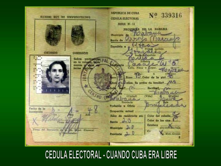 CEDULA ELECTORAL - CUANDO CUBA ERA LIBRE