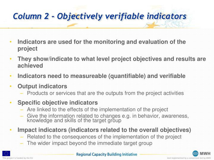 Column 2 - Objectively verifiable indicators
