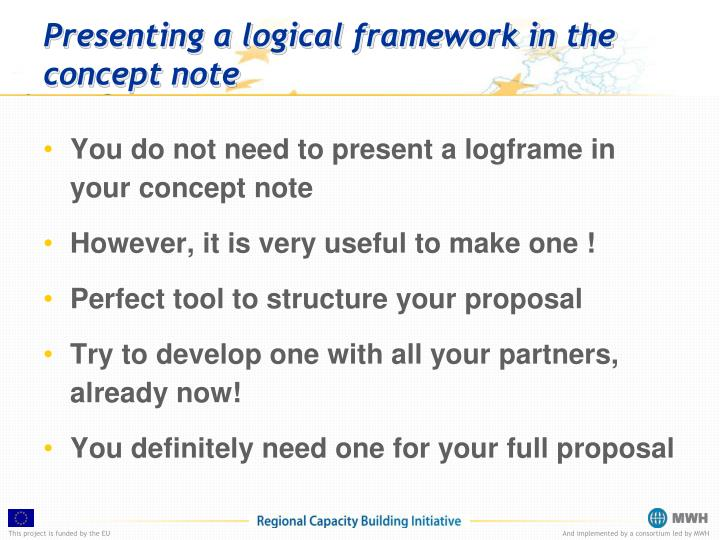 Presenting a logical framework in the concept note