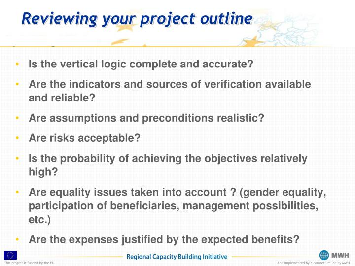 Reviewing your project outline