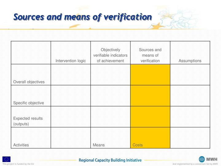 Sources and means of verification