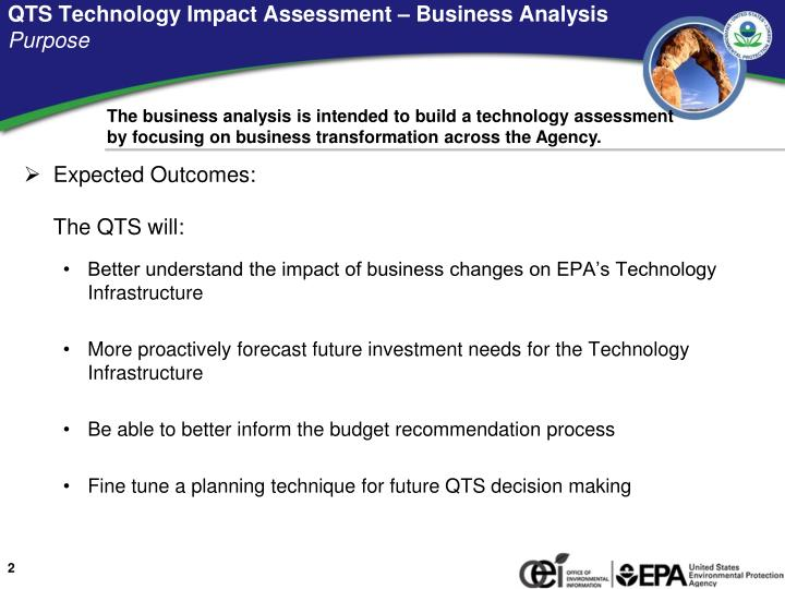 Qts technology impact assessment business analysis purpose