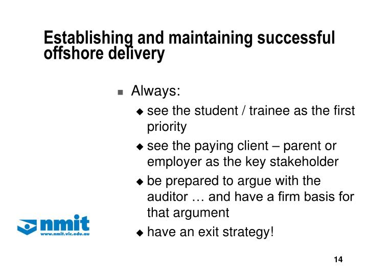 Establishing and maintaining successful offshore delivery