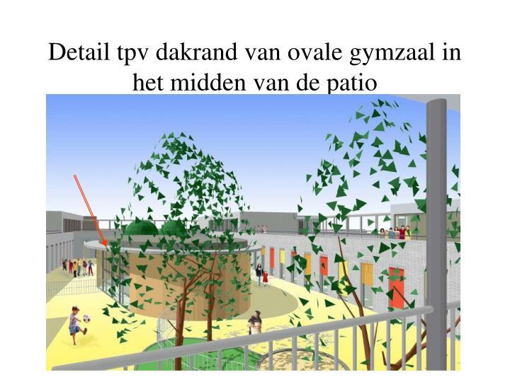 Detail tpv dakrand van ovale gymzaal in het midden van de patio