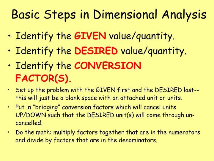 Basic steps in dimensional analysis