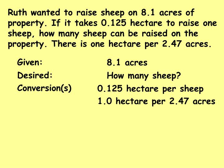 Ruth wanted to raise sheep on 8.1 acres of property. If it takes 0.125 hectare to raise one sheep, how many sheep can be raised on the property. There is one hectare per 2.47 acres.