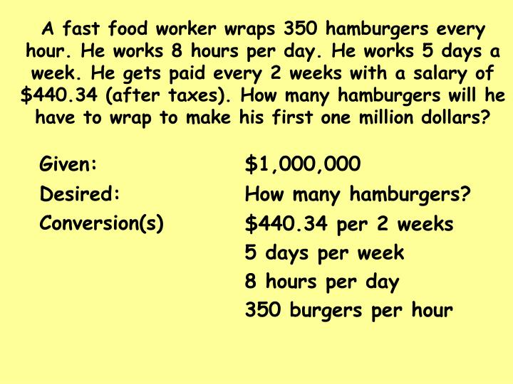 A fast food worker wraps 350 hamburgers every hour. He works 8 hours per day. He works 5 days a week. He gets paid every 2 weeks with a salary of $440.34 (after taxes). How many hamburgers will he have to wrap to make his first one million dollars?