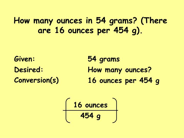 How many ounces in 54 grams? (There are 16 ounces per 454 g).