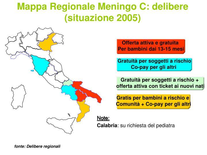 Mappa Regionale Meningo C: delibere (situazione 2005)