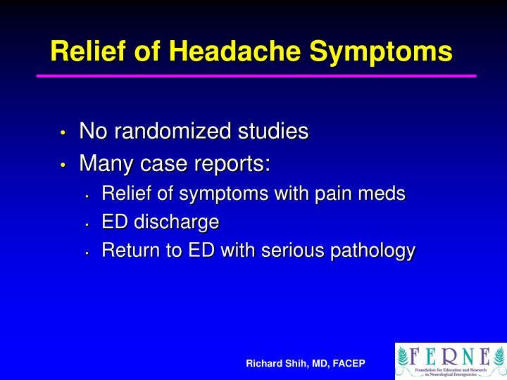 Relief of Headache Symptoms