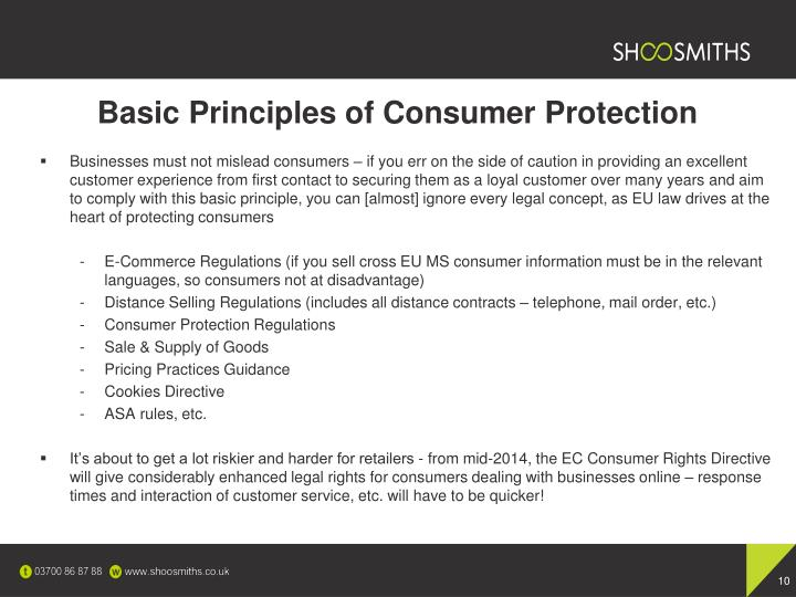 Basic Principles of Consumer Protection