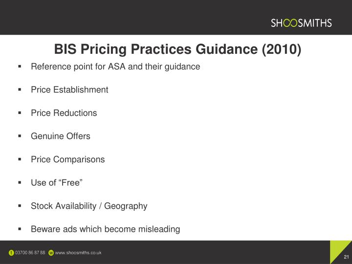 BIS Pricing Practices Guidance (2010)