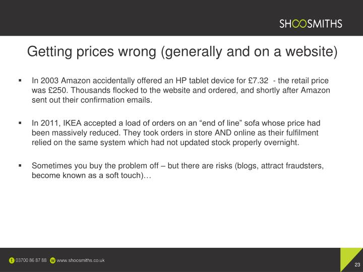 Getting prices wrong (generally and on a website)