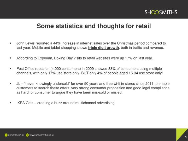 Some statistics and thoughts for retail