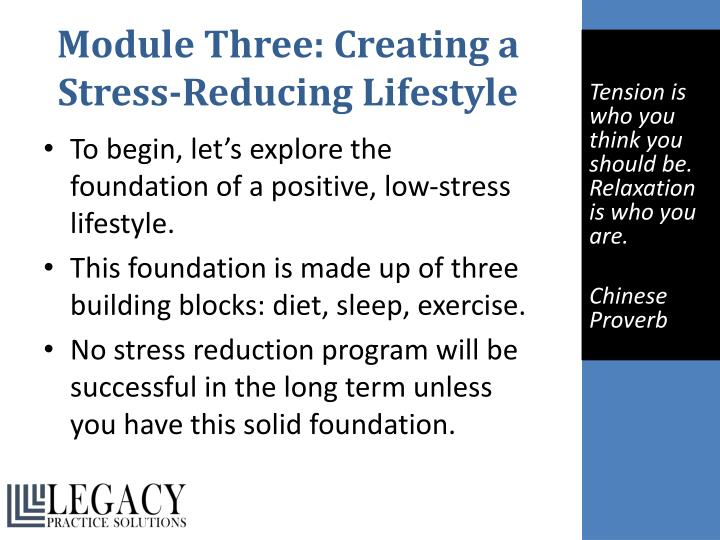Module Three: Creating a Stress-Reducing Lifestyle