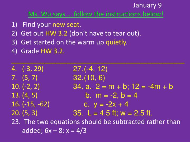 january 9 ms wu says follow the instructions below n.