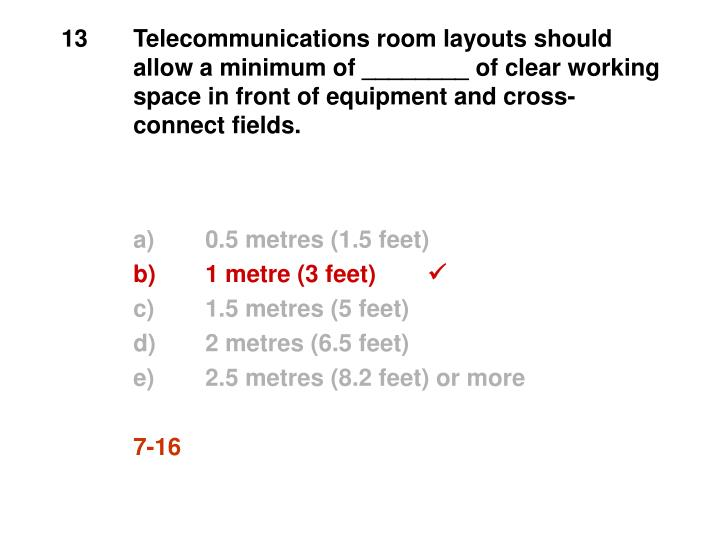13Telecommunications room layouts should allow a minimum of ________ of clear working space in front of equipment and cross-connect fields.