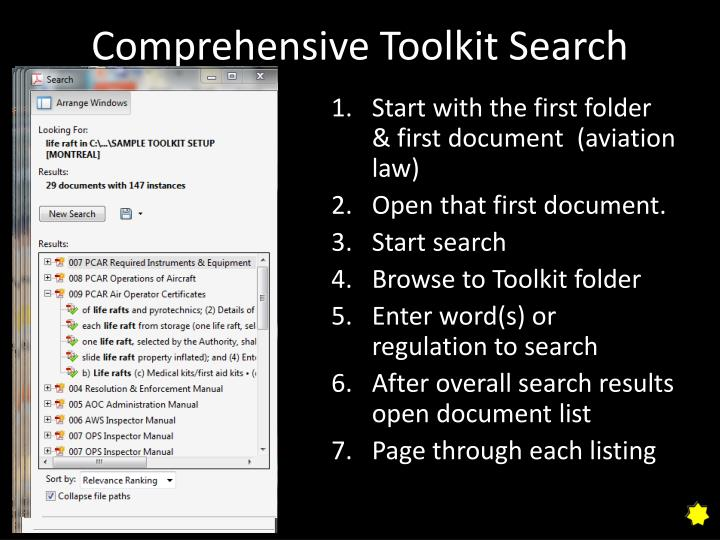 Comprehensive toolkit search