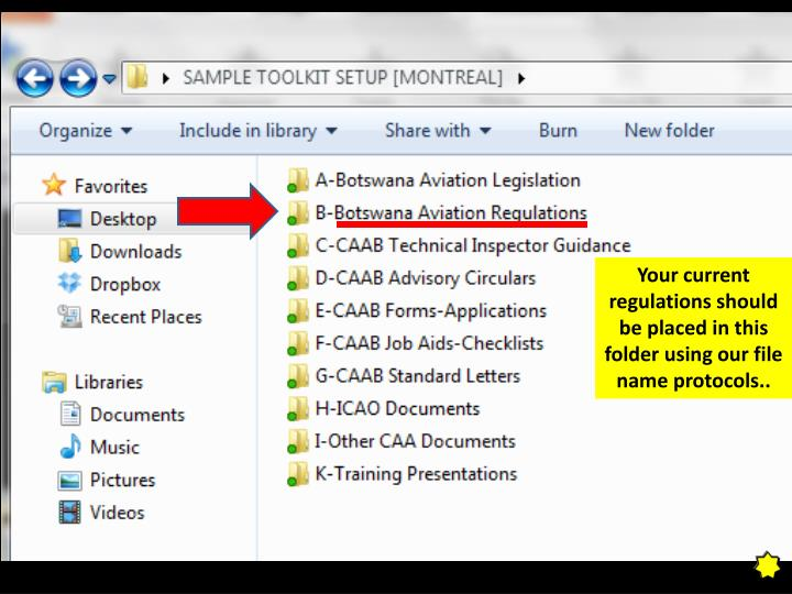 Your current regulations should be placed in this folder using our file name protocols..