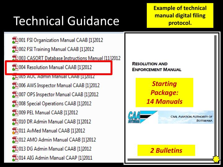 Example of technical manual digital filing protocol.