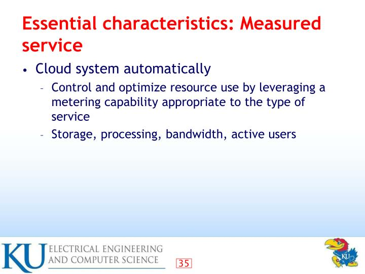 Essential characteristics: Measured service