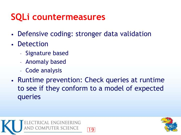 SQLi countermeasures