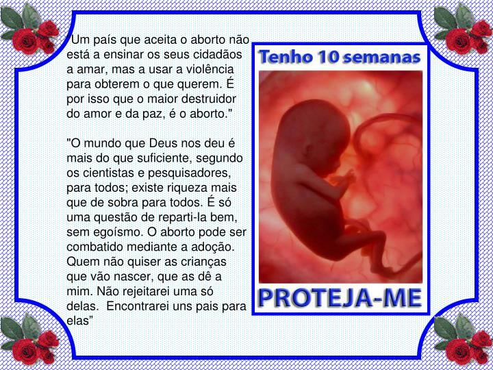 """""""Um país que aceita o aborto não está a ensinar os seus cidadãos a amar, mas a usar a violência para obterem o que querem. É por isso que o maior destruidor do amor e da paz, é o aborto."""""""