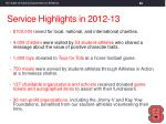 service highlights in 2012 13