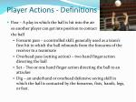 player actions definitions