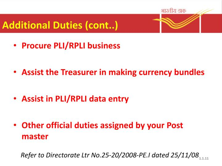 Additional Duties (cont..)