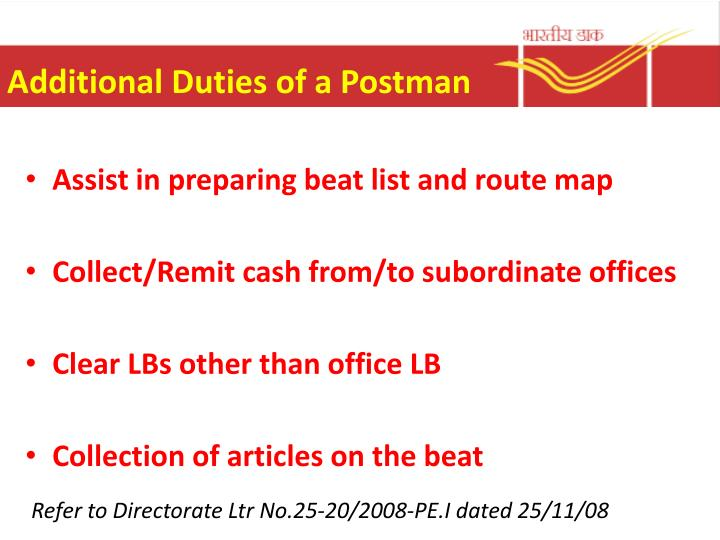 Additional Duties of a Postman