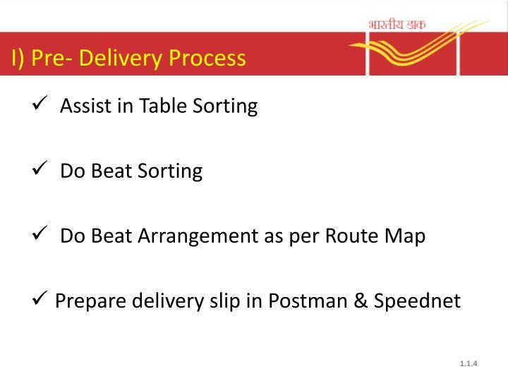 I) Pre- Delivery Process