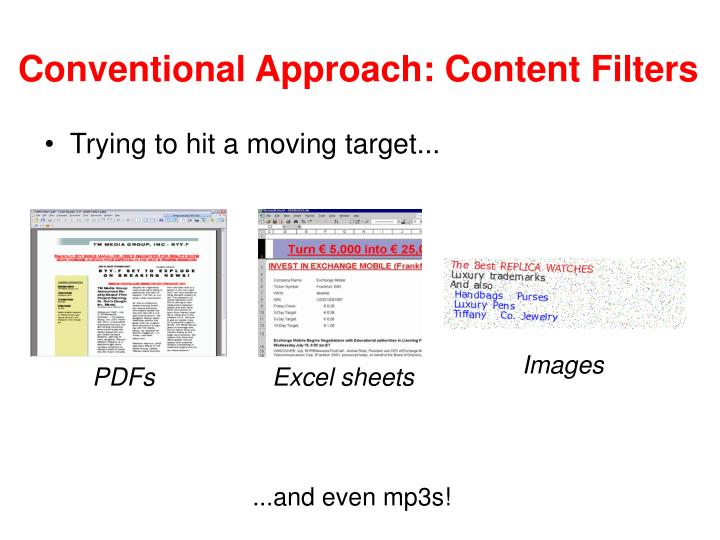 Conventional Approach: Content Filters