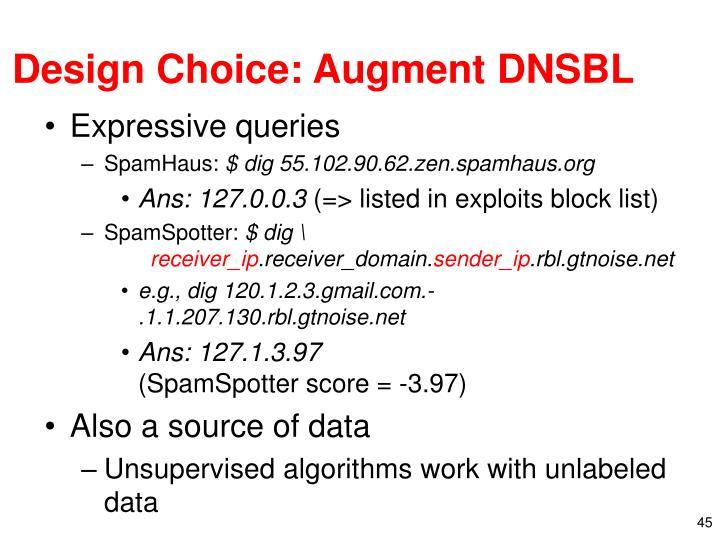 Design Choice: Augment DNSBL
