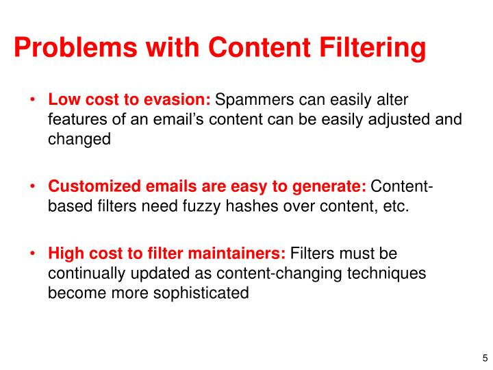 Problems with Content Filtering