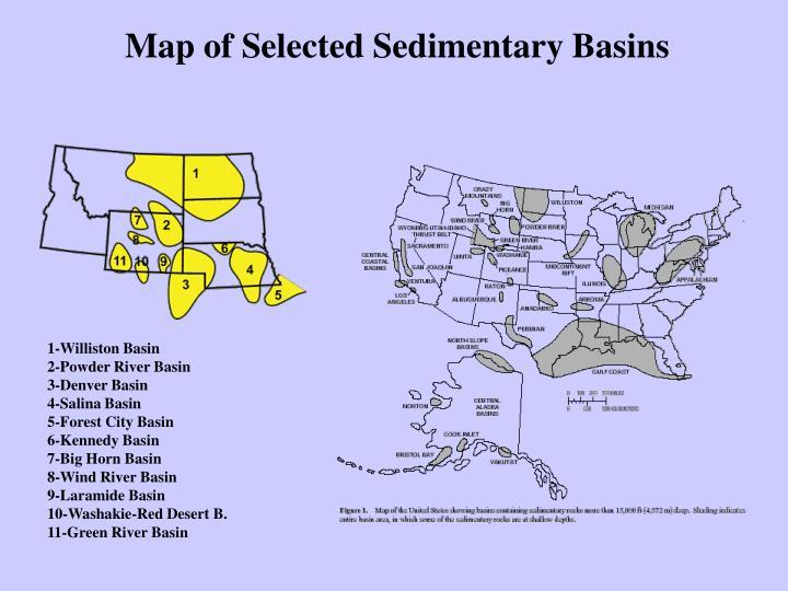 Map of Selected Sedimentary Basins