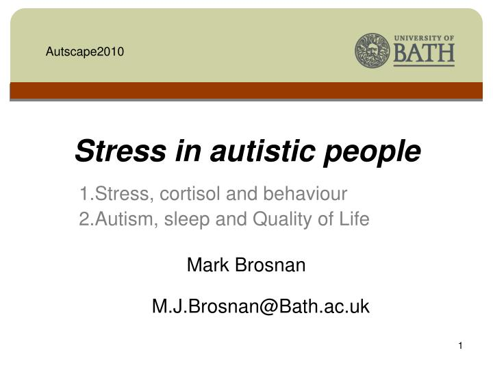 stress in autistic people n.